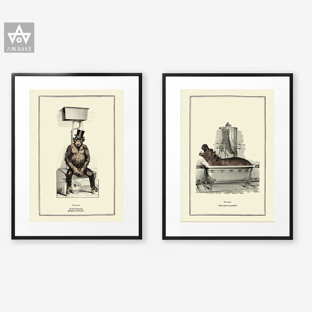 Vintage Animal Print Funny Toilet Wall Art Cloakroom Poster Retro Gothic Steampunk Bathroom Wall Pictures Canvas Painting Decor Painting Calligraphy Aliexpress