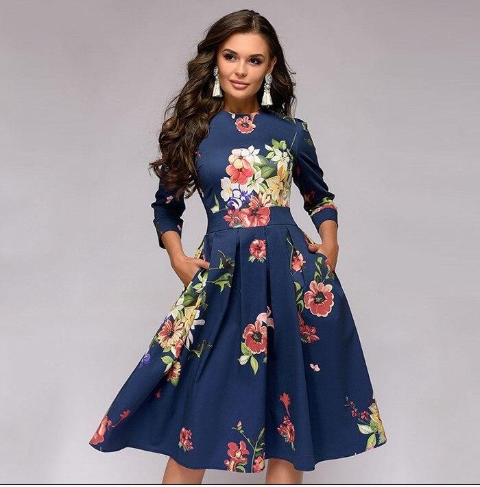 Robe 2019Top nouvelle mode chaude femmes élégant une ligne Vintage impression robes de fête grande balançoire robe pour les femmes vêtements