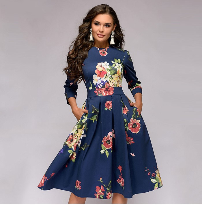 Women Dress 2019Top New Hot Fashion Women Elegent A-line Vintage Printing Party Vestidos Big Swing Dress Vestido De Mujer