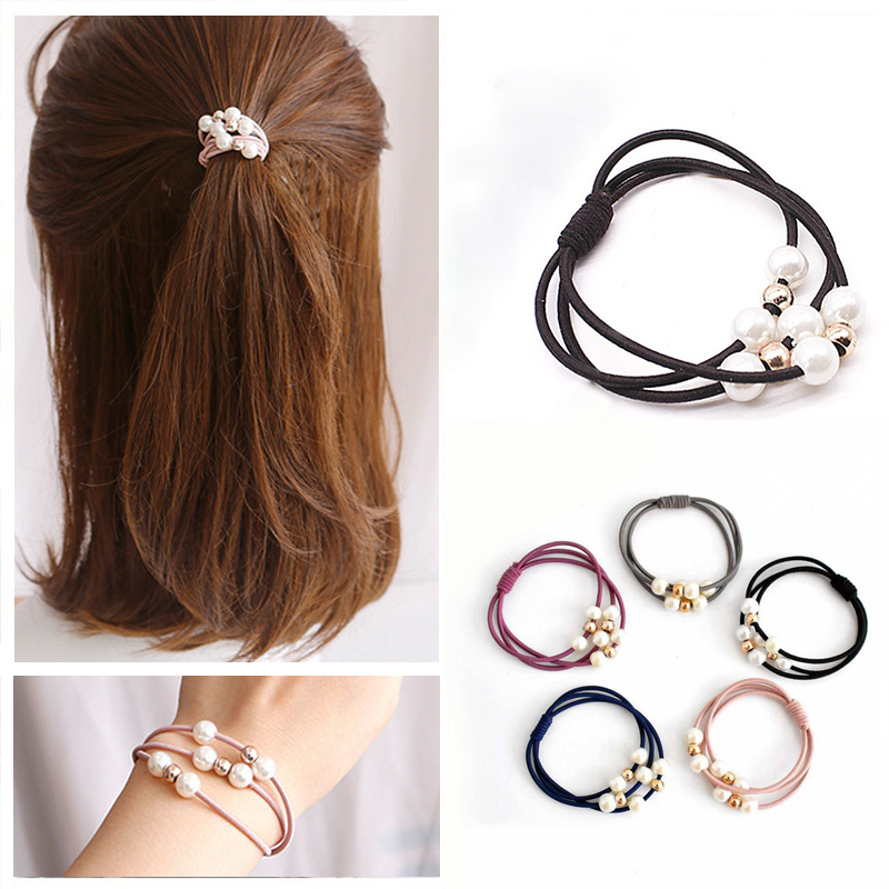 5PCS/Lot Girls Princess Ponytail Hair Ropes Rubber Band For Kids Sweet Pearl Elastic Hair Bands Accessories 5CM Diameter