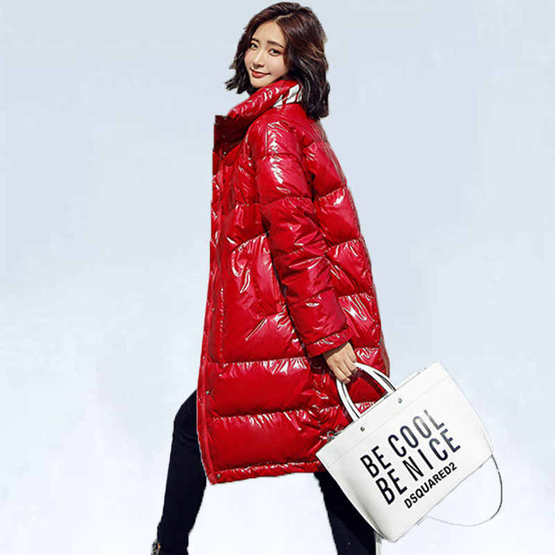 Red Down Jacket Women 2019 New Korean Standing Collar Long Thick Winter Coat Female Fashion Windproof Warm Down Coat Women 56