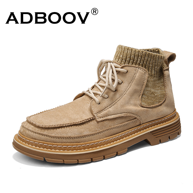 ADBOOV New Design Martin Boots Synthetic Leather Knit Fabric Casual Shoes Men Platform Sport Men's Hiking Boots
