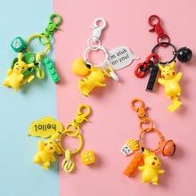 2019 New Pokemon Go Keychain Pikachu Key Chain pocket monsters pendant Mini Charmander Squirtle Boutique Key Ring small Gift 3d anime pokemon key ring pikachu keychain pocket monsters key chain holder pendant mini cartoon figure toys keyring k1725