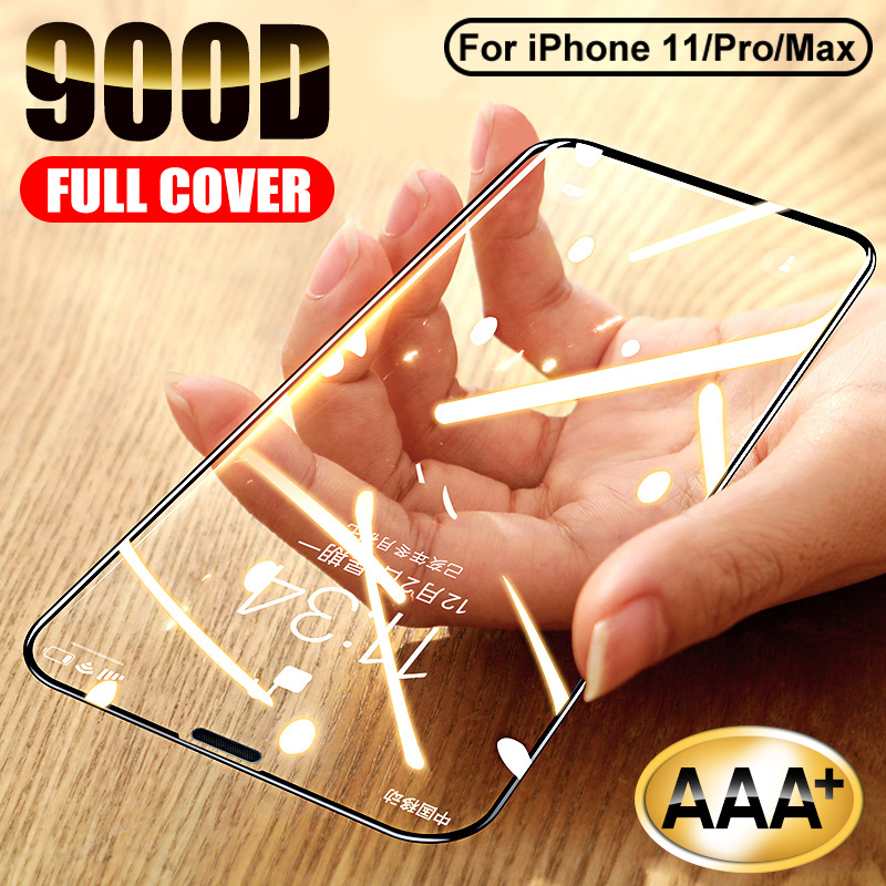 900D Curved Protective Glass For IPhone 11 Pro X Xs Max Xr Screen Protector On IPhone 7 6 8 Plus Tempered Glass On 11 Pro Film