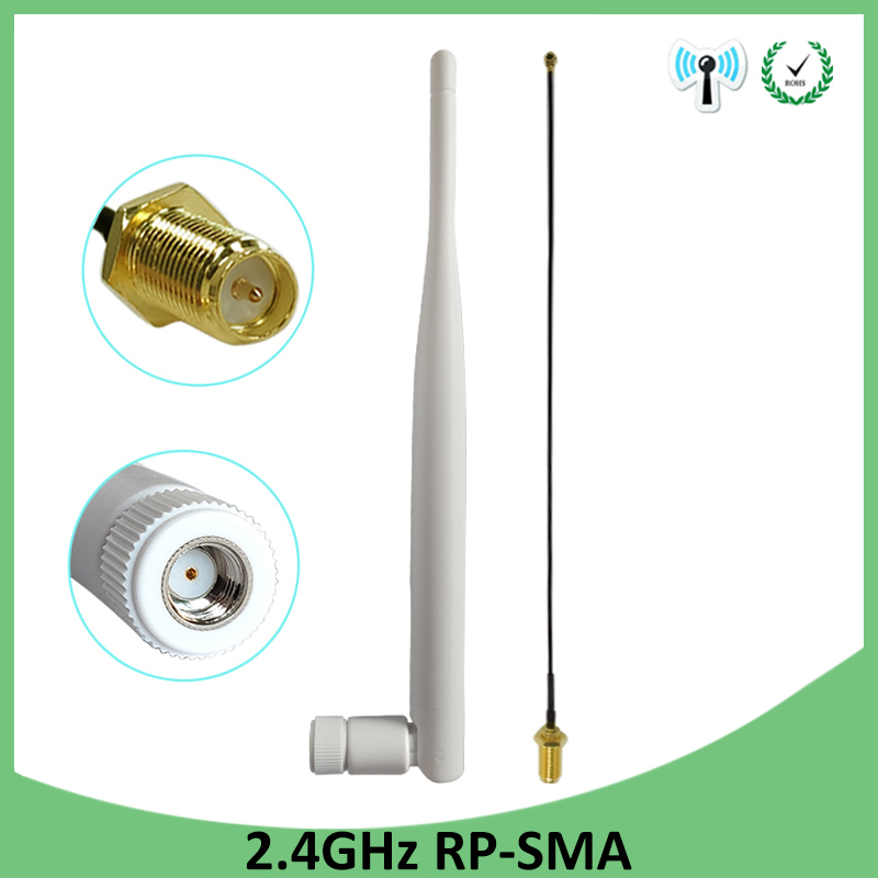 2pcs 2.4GHz WiFi Antenna 5dBi Aerial RP-SMA Male 2.4 Ghz Antena Wi-fi Router +21cm PCI U.FL IPX To SMA Male Pigtail Cable