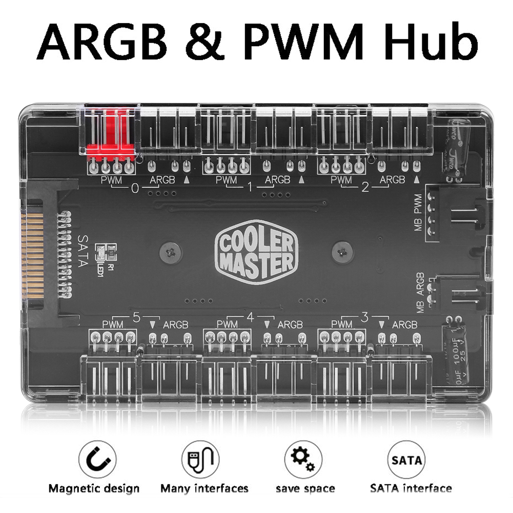 2 in 1 6-Ways 5V ARGB and 12V PWM DC Fan Hub with Acrylic Case and Magnetic Standoff for ASUS//MSI 5V 3Pin LED Controller