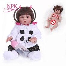 Прямые волосы 48 см bebe Кукла реборн малыш кукла девочка в платье с пандами всего тела Мягкий силикон Реалистичная Гибкая детская игрушка для ванны