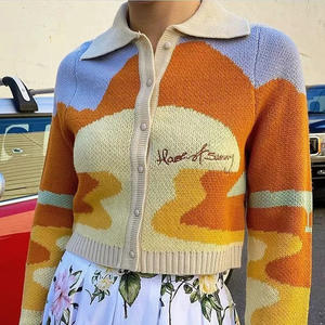 Collar Sweater Cropped Cardigan Letter Embroidery Long-Sleeve Harajuku Knitted Women Autumn