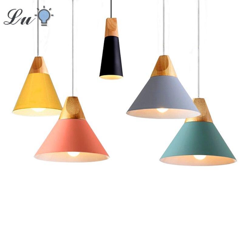 Nordic LED Pendant Lights Dining Room Pendant Lamp Modern House Decoration  Kitchen Coffee Bedroom Loft Hanglamp Wood E27 220V