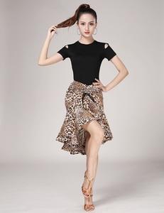Image 3 - נמר תבואה לטיני Fishtail חצאית למבוגרים נקבה לטיני עיסוק ביצועי תלבושות ריקוד חצי אורך חצאית נשים ריקוד