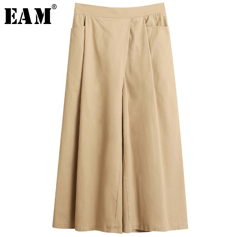 [EAM] High Elastic Waist Pleated Split Long Wide Leg Trousers New Loose Fit Pants Women Fashion Tide Spring Autumn 2020 1S516