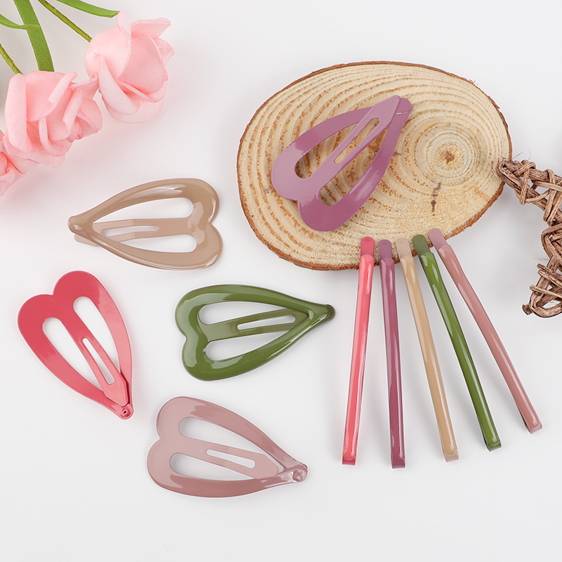 4pcs Snap Heart Hair Clip For Women Girls Hair Bobby Pins Thick Hairpins Baby Children Color Metal Barrettes Styling Accessories