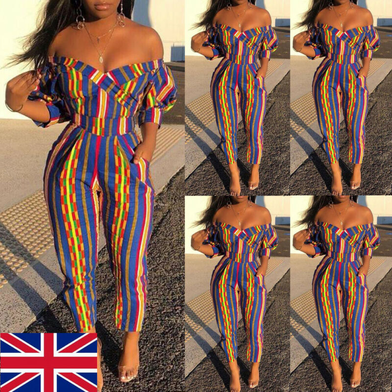 Boho Women Off Shoulder Holiday Party Jumpsuit Mini Playsuit Ladies Summer Casual Pants Romper Trousers Clubwear