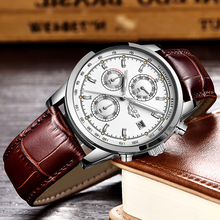 LIGE Watches Casual Leather Silver Quartz LIGE9927