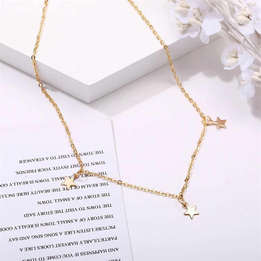 Tiga Bintang Liontin Kalung Retro Sederhana Klavikula Rantai Paduan Sederhana Kalung Perhiasan untuk Wanita Gadis Ulang Tahun Hadiah Alam