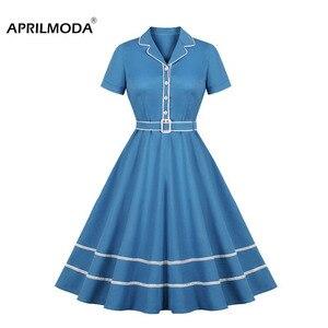 Отложной воротник ретро рокабилли платья короткий рукав трапециевидной формы до колена 50s Pin up Skater студенческое платье Vintge женская одежда