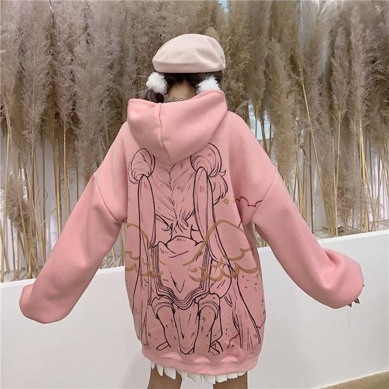 Kawaii Sailor Moon Hoodie Streetwear Ulzzang Cartoon Sweatshirts Pullovers Oversize Hooded Hoodie Streetwear Harajuku Tops Girl