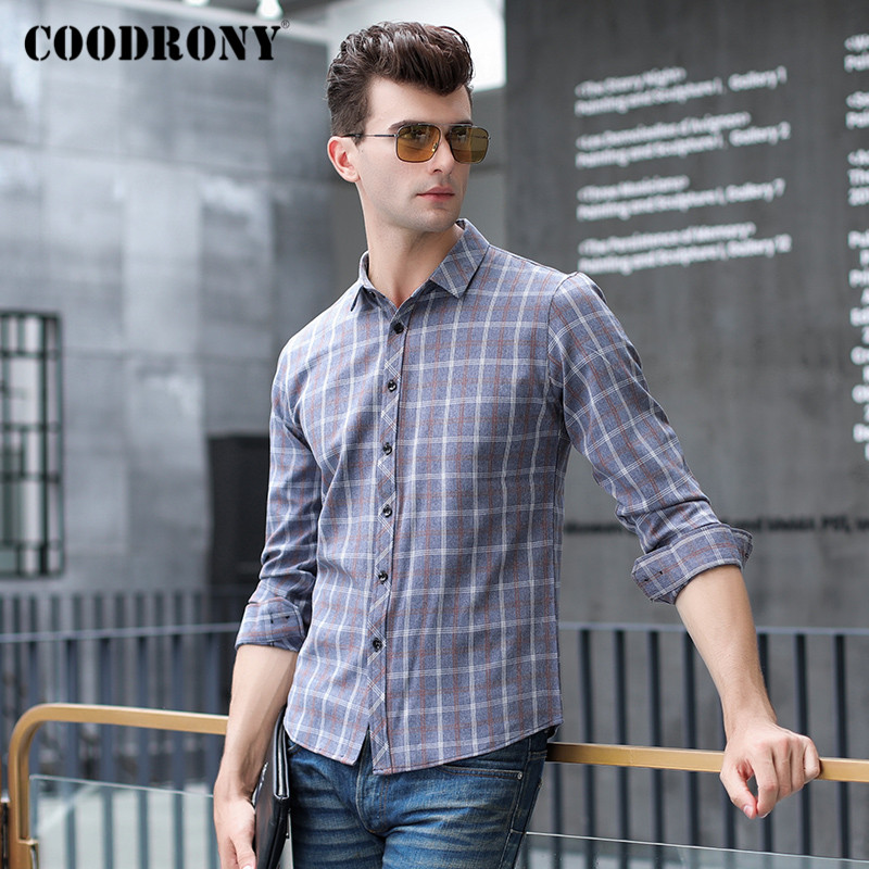 COODRONY Brand Long Sleeve Shirt Men Spring Autumn New Arrival Fashion Plaid Mens Shirts Business Casual Camisa Masculina C6004