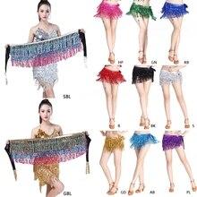 8 Colors Women Sequins Tassel Belt Belly Dance Costume 3 Rows Strips Hip Scarf R