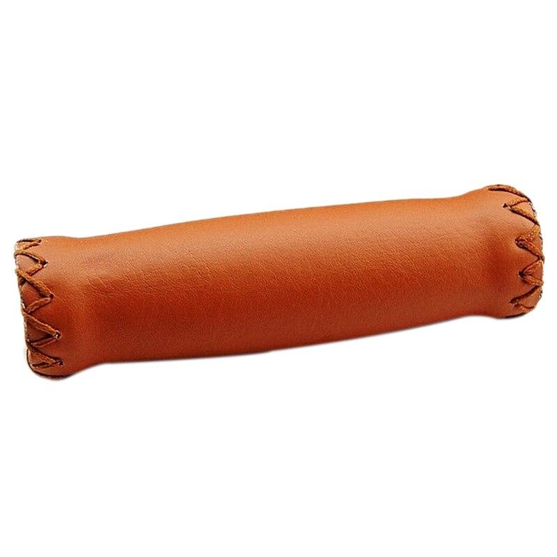 Купить с кэшбэком Pair Vintage leather bicycle Grips Grips trekking handlebars Cover Colour: Brown