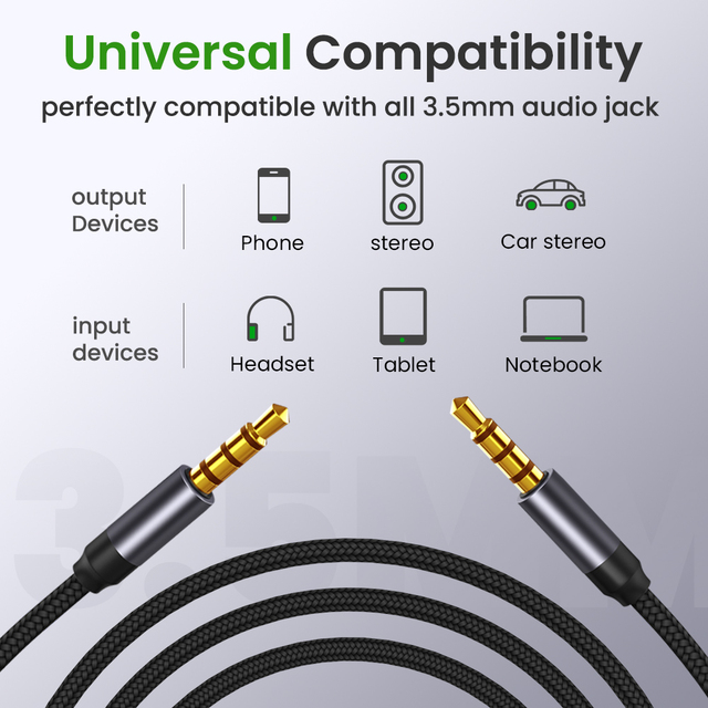 3.5mm AUX Cable Jack male to male Audio Cable 3.5mm Speaker Cable for Headphones Car for Xiaomi Redmi 5 plus Oneplus 5t AUX Cord 2