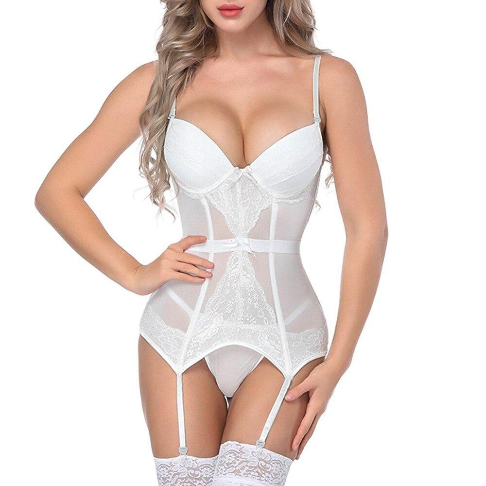 New Fashion Women Hot Bustier Corset Sexy Girdle Waist Cincher Bodydoll Charming White Solid Lingerie Firm Shaper