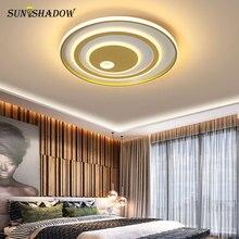 Круглые акриловые современный светодиодный потолочный светильник фойе Гостиная Спальня Кухня люстра люстра лампа 110В 220VBlack&Белый