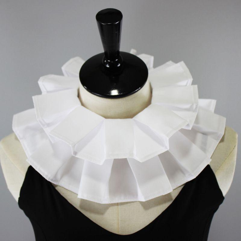 Womens Vintage Renaissance Cotton Ruffle Fake Collar Victorian White Neck Ruff