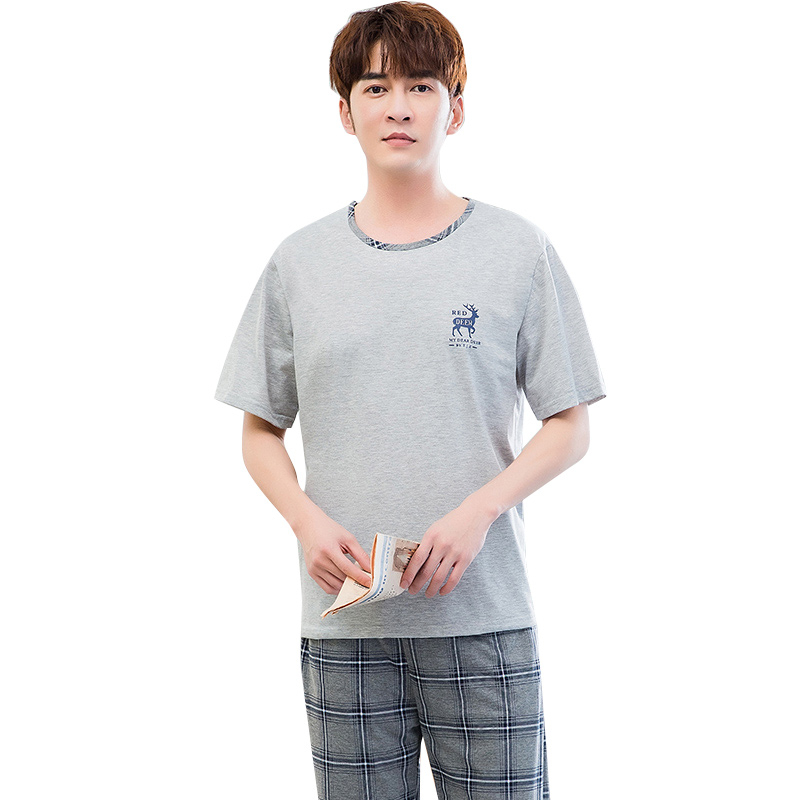 Pajamas Sleeping Suits For Men Cotton Pajamas Summer Spring New Shorts Sleeved Men Leisure Suits Plaid Pajama Pants Men's Pj Set