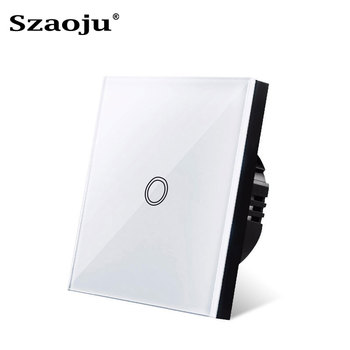 Szaoju Touch switch, EU standard, white crystal, glass panel,Wall switch, AC110-220v, 1 Set 1 Way  wall light, wall touch screen eu uk standard light wall touch screen switch ac110 240v touch switch crystal glass panel 1 2 3 gang 1 way wall touch switch