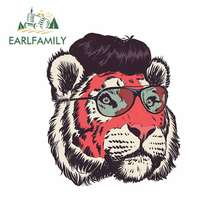 EARLFAMILY 13cm x 11.5cm Tiger Head Wearing Sunglasses Funny Car Stickers and De