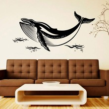 Whale Animal Wall Sticker Bubbles vinyl Decal Bathroom Washroom Decoration Removable Murals AY1965