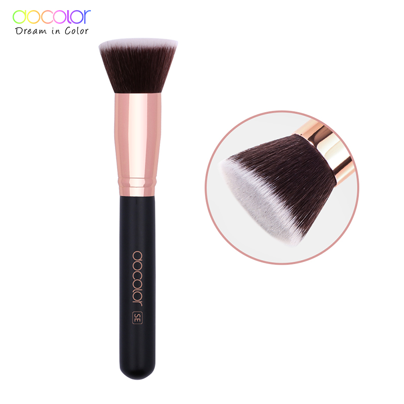 Docolor 1PC Large Foundation Brush Professional Make Up Brush Wood Handle Soft Synthetic Hair Make Up Tools