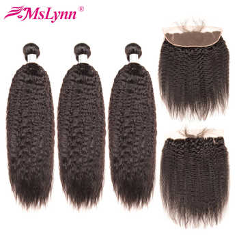 Brazilian Kinky Straight Hair 3 Bundles With Closure Human Hair Bundles Deal With 4x13 Lace Frontal Closure Mslynn Remy - DISCOUNT ITEM  59% OFF All Category
