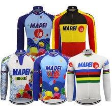 Camisa de ciclismo inverno velo e sem lã dos homens manga longa quente ciclismo roupas maillot mtb