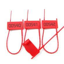Zip-Ties Plastic Security-Seals 100pcs Red Cord Package Tamper-Proof Ribbed Tear-Away