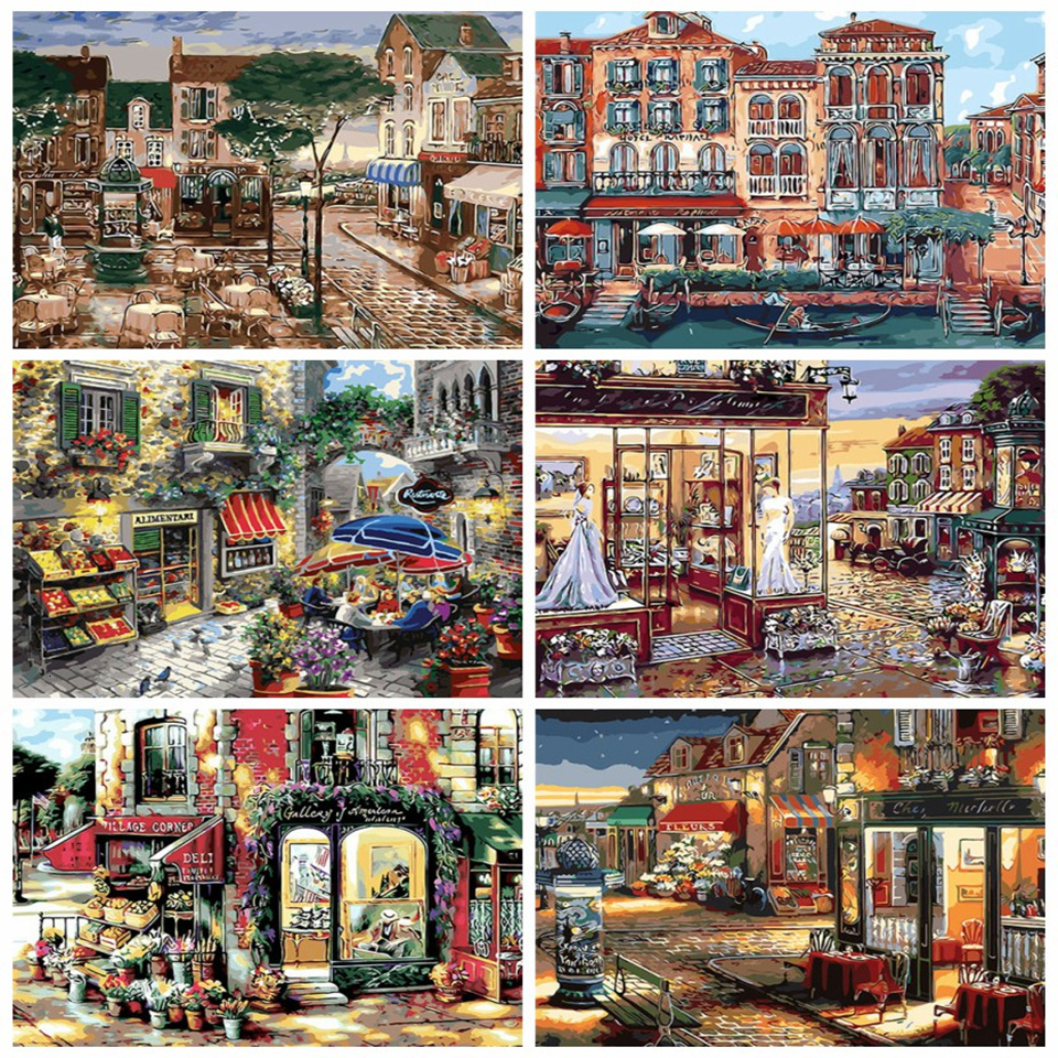 AZQSD DIY Canvas Oil Painting By Numbers Town Unframe Picture Home Decoration Coloring By Numbers Landcsape Acrylic Paint