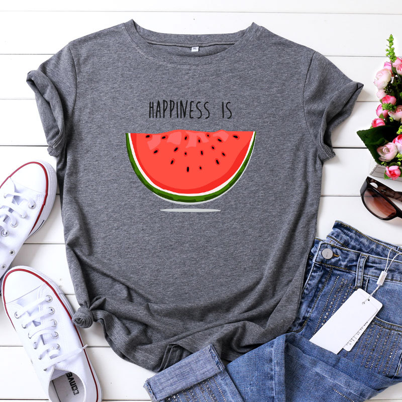 Happiness is Watermelon Printed 100% Cotton Short-sleeved Women's T-shirt Casual Soft Female T shirt Women Plus Size Femme Top(China)