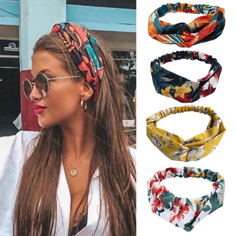 Women Headband Turban Hair-Accessories Knot Print Elastic Floral-Cross Soft 67-Style