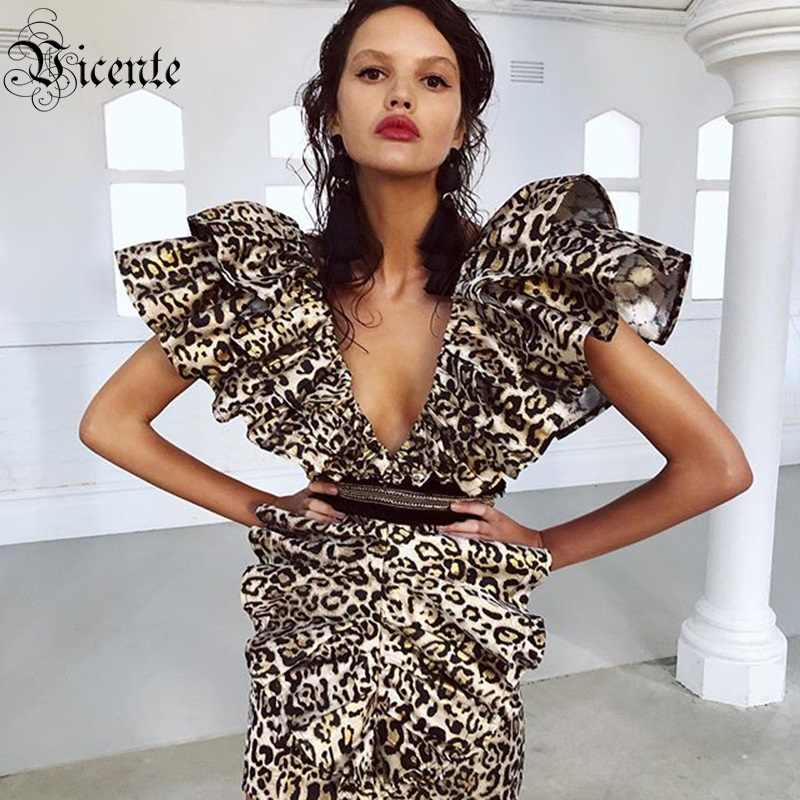 VC Free Shipping 2020 Women New Leopard Dress Sexy Ruffles Sleeves V Neck Vestidos Celebrity Christmas Party Mini Bodycon Dress