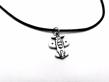 Tiny Vintage Plane Pendant Necklace Harry European Airplane Aircraft Charm Leather Rope Necklaces for Birthday Gifts