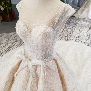 Image 4 - HTL820 wedding dresses turkey o neck cap sleeve beads bridal dresses gown with belt lace up back robe de mariee 11.11 promotion