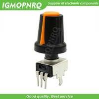 Potenciómetro de sellado de 3 pines para Arduino, 10 uds. De resistencia ajustable RV09 Vertical 1K ~ 500K Ohm con tapa naranja de perilla (5 uds + 5 uds)