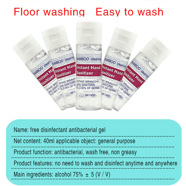 3PC Free Hand Sanitizer 30ml/40ml Gel 75% Alcohol Mild Quick Drying Remover Portable Daily Cleaner Cleaning Health Care 3