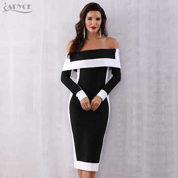 Adyce Sexy Winter Bodycon Bandage Dress Women Vestidos 2019 New Long Sleeve Off Shoulder Club Dress Celebrity Runway Party Dress - DISCOUNT ITEM  32% OFF All Category