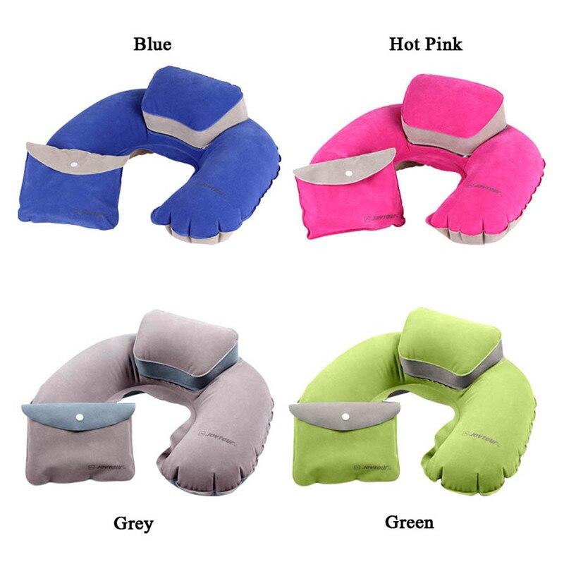 Portable Air Pillow Inflatable U-Shape Neck Blow Up Cushion PVC Flocking Folding Travel Office Plane Pillow QB878813