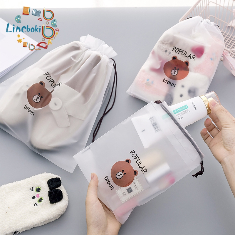 Kawaii Cartoon Brown Bear Transparent Pencil Case Cosmetic Bag School Office Supplies Document Bag File Folder Stationery
