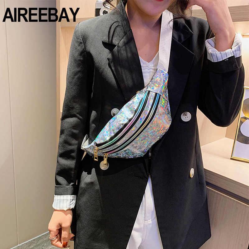 Aireebay 3-zíper bolso feminino holográfico fanny pack rosa prata lantejoulas pacote de cintura para mulheres laser peito bum holograma sacos