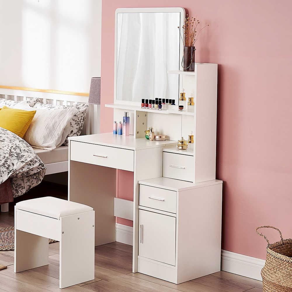 table de toilette moderne et tabouret meuble de rangement pour chambre a coucher bureau de maquillage avec miroirs et 4 tiroirs blanc