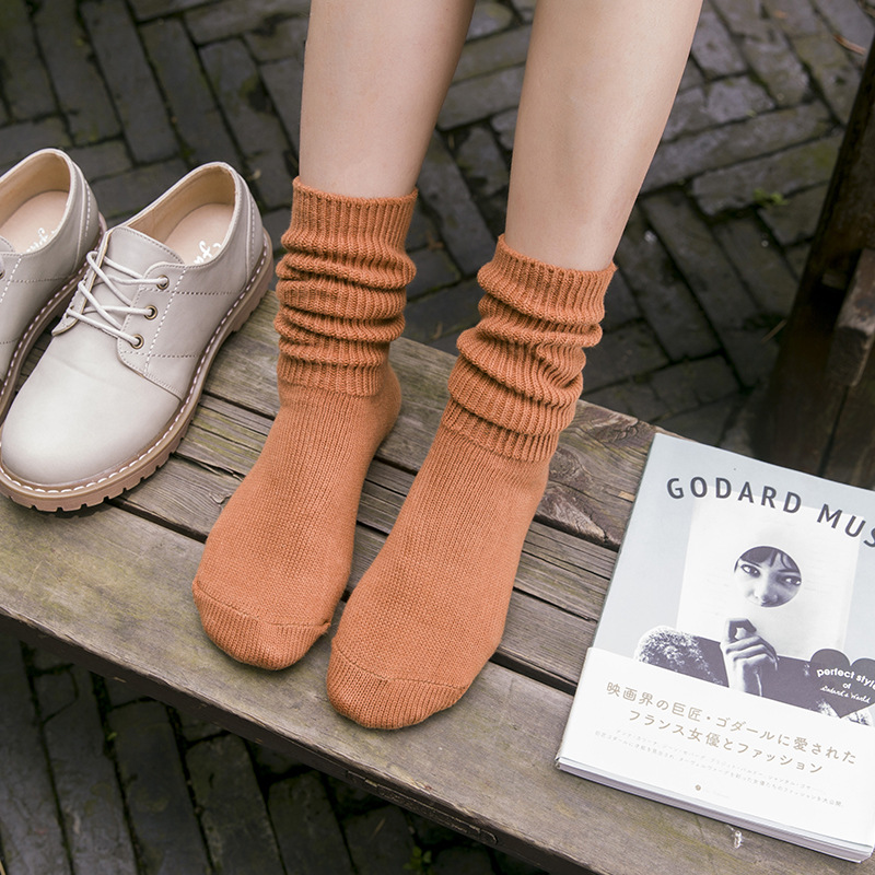 Sale Casual Solid Color Comfortable Women Socks Warm Thick High Socks White Black Gray 7 Colors Pile Heap Socks 1 Pair